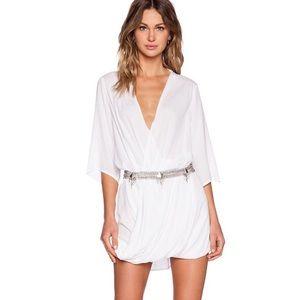 MLM Ziggy white surplice mini dress